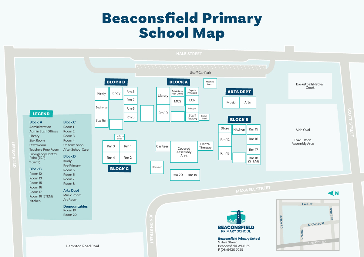 Illustrated map of school grounds